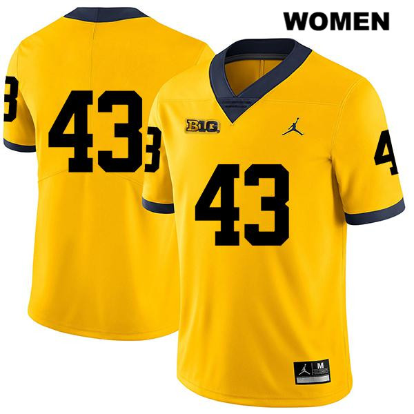 Michigan Wolverines Tyler Grosz Womens Jordan no. 43 Stitched Yellow Legend Authentic College Football Jersey - No Name - Tyler Grosz Jersey