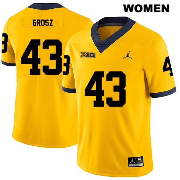 Michigan Wolverines Tyler Grosz Legend Womens Stitched no. 43 Jordan Yellow Authentic College Football Jersey - Tyler Grosz Jersey