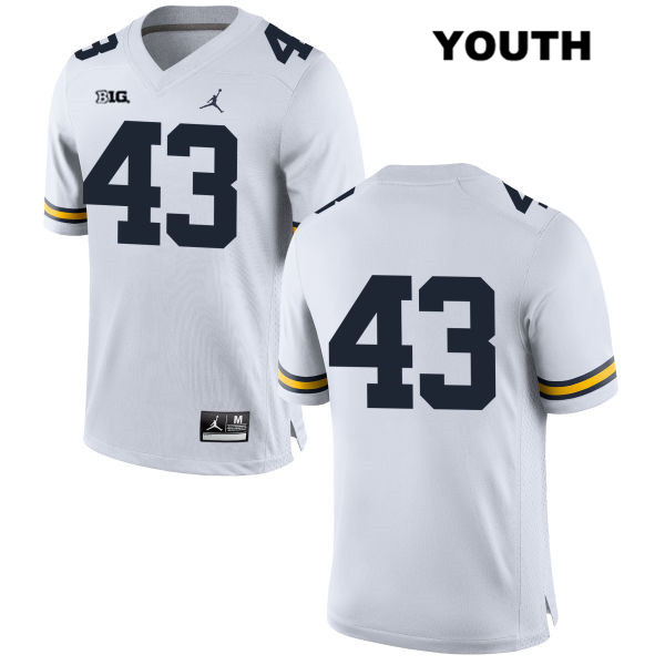 Michigan Wolverines Tyler Grosz Jordan Youth no. 43 Stitched White Authentic College Football Jersey - No Name - Tyler Grosz Jersey