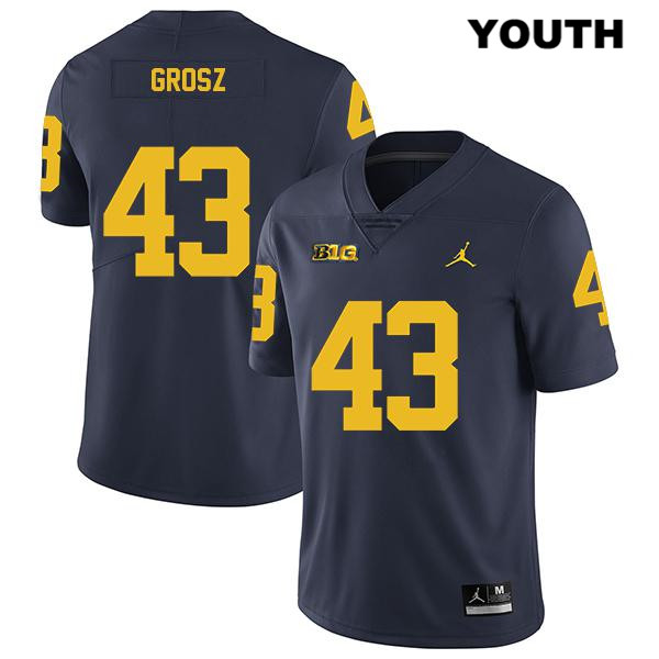 Legend Michigan Wolverines Tyler Grosz Jordan Youth Stitched no. 43 Navy Authentic College Football Jersey - Tyler Grosz Jersey