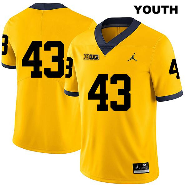 Jordan Michigan Wolverines Tyler Grosz Legend Youth no. 43 Yellow Stitched Authentic College Football Jersey - No Name - Tyler Grosz Jersey